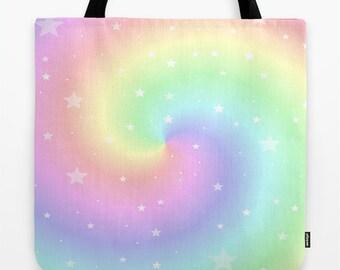 Tote Bag, 13x13, 16x16, 18x18, Rainbow Tote, Swirl Tote, Beach Tote, Shopping Tote, Soft Color Tote, Shoulder Bag, Market Tote, Dreamy Tote
