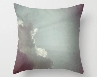 Cloud Throw Pillow, 16x16, 18x18, 20x20, Outdoor, Patio Decorative Pillow, Cloudy, Nature Cushion, Wedding Gift, Living Room, Cloudy Sky