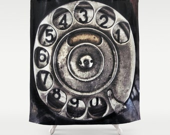 Call Me Shower Curtain, Bathroom, Vintage Home Decor, Old phone Dial Shower Curtain, Black, Steampunk, Noir, Numbers, Metal, Beach, Holiday