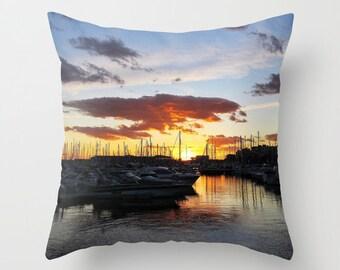 Sunset Throw Pillow, Marina, Outdoor, Patio, Yacht Decorative Pillow, Nature Cushion, Wedding Gift, Nautical Pillow, Boat, Ocean, Beach,Surf