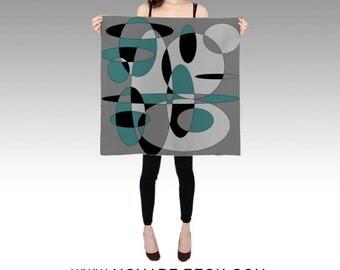 Circles Habotai Silk Scarf, Black Grey Teal Scarf, Wearable Art, Fashion, Accessories, Retro Silk Shawl, Women, Beach, Cover up,Contemporary