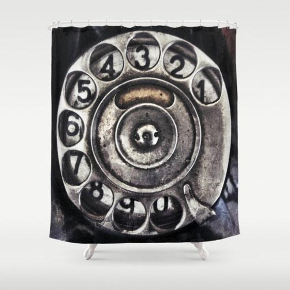 Call Me Shower Curtain, Bathroom, Vintage Home Decor, Old phone Dial Shower Curtain, Black, Steampunk, Noir, Numbers, Metal, Beach, Retro