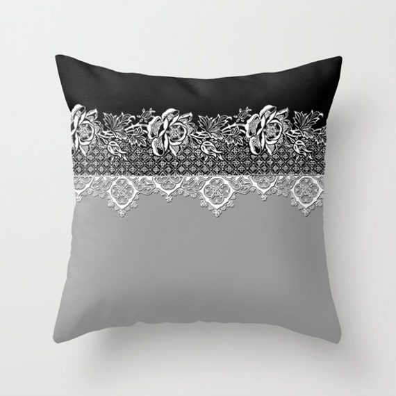Items similar to Grey Black Throw Pillow, White Lace Print Pillow, Decorative Pillow Cover ...