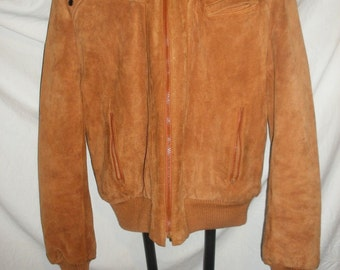 Vintage Mens Berman's Brown Leather Suede Sherpa Western Coat Jacket with Wool Lining Size 42L