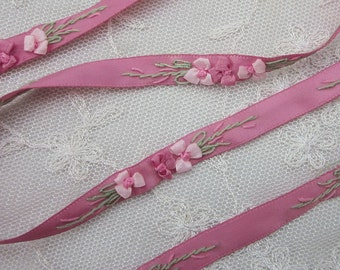 1 Yard Hand Embroidered Colonial Rose Pink Satin Ribbon Flower Trim Baby Doll Christening Gown