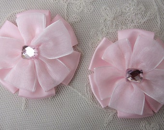 2 pc Beaded w Stone Lt Pink Satin Organza Ribbon Flower Applique Baby Doll Bridal Corsage Bow