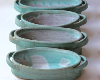 Four Condiment Dishes in Stoneware Glazed Cerulean Blue and Mat White Bakeware
