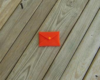 Business Card Holder Orange Cordura with Light Orange Snap