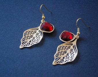 Gold leaf and ruby rhinestone earrings