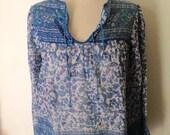 RESERVED Leni Vintage 70's Indian gauze floral blouse