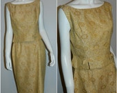 vintage 1950s brocade suit Ilene Ricky / golden yellow pencil skirt / button back blouse S