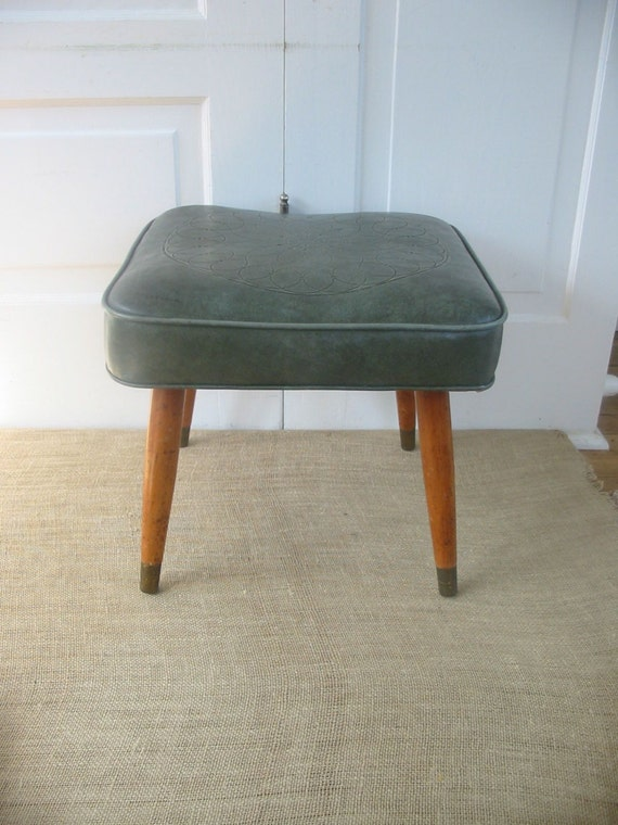 Vintage Ottoman Mid Century Modern Stool Green By Vintagejane
