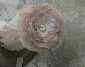 Flower Girl Bouquet, Flower girl wand, Blush Pink flowers, flower girl accessory, flower wand, fairy wand, Wedding wand, Jr Bridesmaid