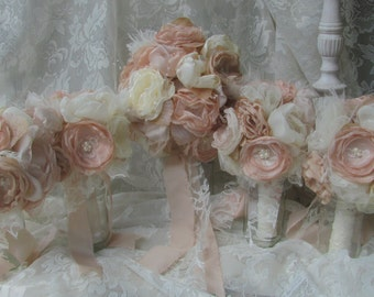 Bridal Bouquets,Vintage bouquets, Fabric Bouquets, Alternative bouquets,Shabby Chic Bouquets, Wedding Flowers Bridal with 4 Bridesmaids