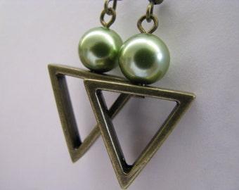 Green Earrings, Triangle Earrings, Green Pearl and Antique Bronze Earrings, Geometric