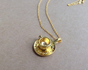 Tea Cup and Saucer Necklace, tiny gold charm necklace, tea cup necklace