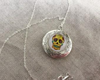 Skull Locket, Dios De Los Muertos, Sugar Skull Jewelry