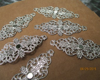 Filigree Connectors  6 Stamped Silver  Wraps etc