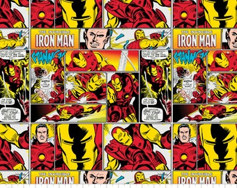 Marvel Vintage Comic The Invincible Iron Man Fabric By The Yard