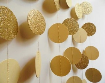 Gold Glitter Circle Garland, Holiday Decor, 8' Paper Dot Garland, Wedding Reception Decor, Bridal Shower Decoration