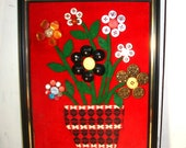 Vintage Button Flower Picture, Wall Art, Handcrafted, Black Frame, Red Background, Felt Stems, Handcrafted, Handmade Button Art  (585-15)