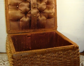 Vintage Tattered Sewing Basket, Box, Mid Century, Brown, Square, Storage Container, Woven Display Basket  (530-15)
