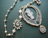 Seahorse medallion wire wrapped necklace - sterling silver and rose quartz necklace