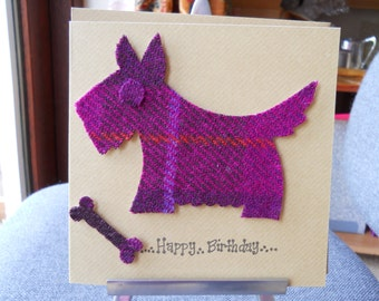 Harris tweed scotty dog,  Harris tweed card, Celtic  birthday card,Genuine harris tweed scotty dog.