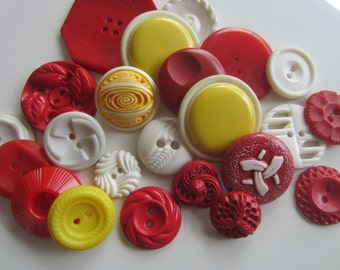 Vintage Buttons - Cottage chic mix of red, yellow and white lot of 23, old and sweet(apr 466)