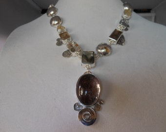 NEW Faces of Quartz  Garden Pyrite Dendritic Tourmalated Rutilated Stunning Statement 21 inch necklace w 2+ inch focal
