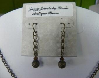 Vintaj Brass/Smoky Topaz Swarovski Crystal Dangle Earring