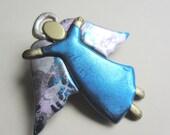 Angel with spread wings in blue pin brooch