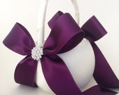 Ivory and Purple Flower Girl Basket with Rhinestone Accents - Satin Flower Girl Basket