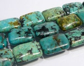 African Turquoise Smooth Puffed Rectangle Gemstone Beads...14x10mm....4 Beads