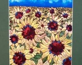 Print of my Original painting of Sunflower fields with signed matt  Linda Kelly