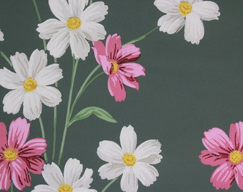 1950s Vintage Wallpaper Pink and White Flowers on Green by the Yard