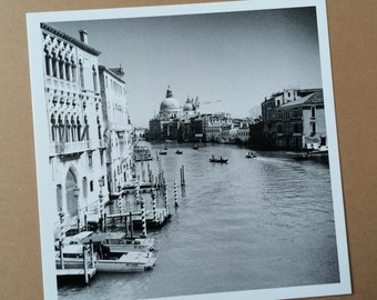 Venice Grand Canal Print - Black and White Photography - Square
