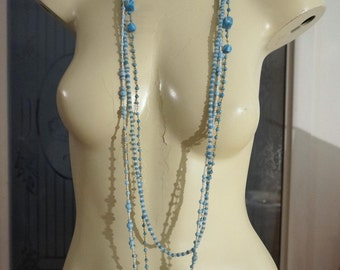 Vintage Blue Opaque Glass Bead Flapper Sautoir Necklace Lot 3 Beaded Necklaces