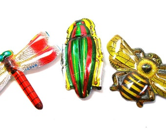 60s Tin Toy BUG brooches, 3 metal Japanese insect costume jewelry.