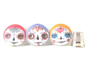 Fabric Sewing Buttons, Day of the Dead Buttons, Cute Covered Buttons, Face Buttons, Craft Buttons (Set of 3)