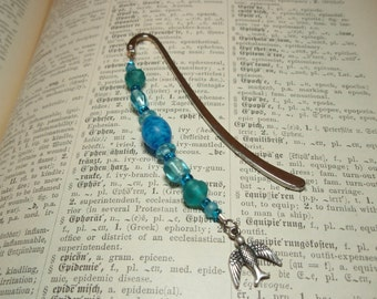 Little Bird Charm Tiny Sky Blue Beaded Bookmark
