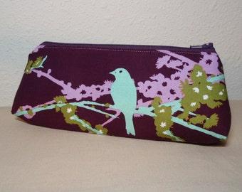 Plum Sparrows Zipper Pouch - Small Pencil Pen Cosmetic Crochet Hook Bag