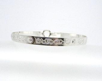 Discreet Slave Collar In Stock 9mm Wide Sterling Celtic Knotwork Public Day Collar With Sterling Spring Gate O Clasp