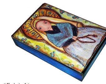Saint Bernadette with Rosary -  Aceo Giclee print mounted on Wood (2.5 x 3.5 inches) Folk Art  by FLOR LARIOS