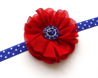 50% OFF Red White and Blue Flower Headband