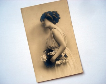 FOUND IN SPAIN --- Black and white postcard of a lovely lady - dated 1910