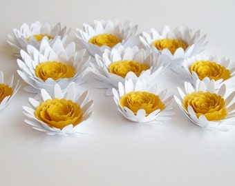 10 Assorted  large and small paper daisies, rolled paper flowers,wedding decoration,scrapbook decoration,table decoration,paper daisy flower