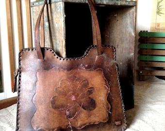 Vintage Luciano Fialho Leather Hand Painted Hand Tooled Boho Summer Shoulder Bag