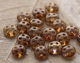 clearance .. LENTIL No. 4441 .. 20 Picasso Glass CzechMate QuadraLentil Beads 6mm (4441-20)
