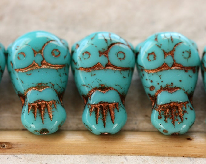 TURQUOISE OWLS No. 1 .. 6 Premium Picasso Czech Glass Owl Beads 11x18mm (4459-6)
